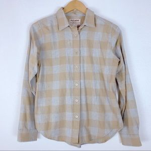 Filson Plaid Button Front Yellow Gray Flannel M